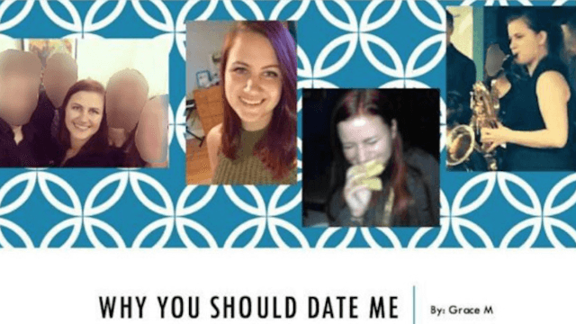 Woman makes her Tinder profile even more persuasive by making it a PowerPoint.