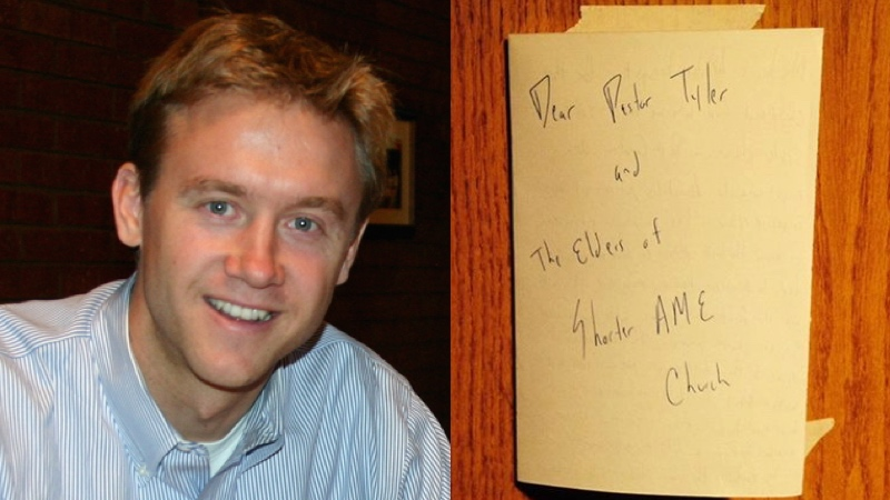 Tired of the violence, this white politician posted a moving note on a black church's door.