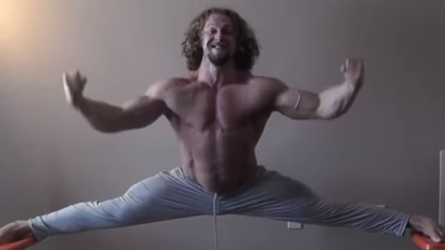 Today's most impressive human is this man lifting 100 lbs while doing a chair split.