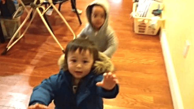 Little boy goes in for the hug, girl rebuffs him in no uncertain way.