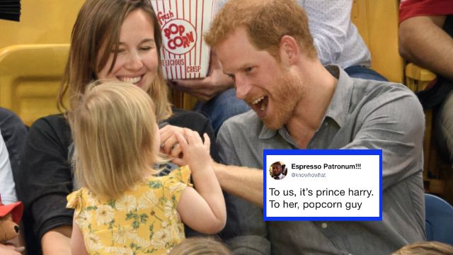 A toddler stole popcorn from Prince Harry and Twitter is lol'ing.