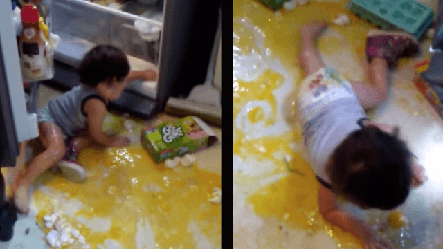 Mom learns the hard way not to leave a toddler alone with raw eggs.