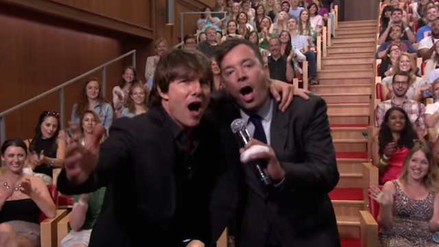 Tom Cruise finds productive outlet for his bizarre intensity in lip sync battle with Jimmy Fallon.