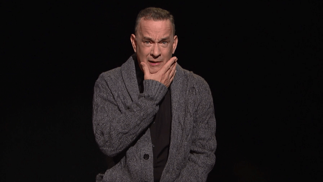 Tom Hanks, America's Dad, gives the nation a badly-needed pep talk in his 'SNL' monologue.