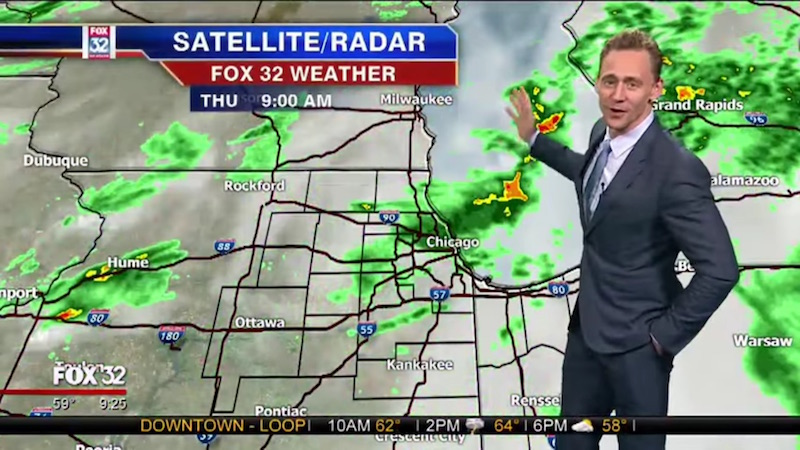 'Thor' actor Tom Hiddleston awkwardly delivers weather report as if he's not extremely used to using a green screen.