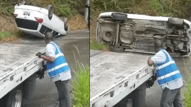 Tow truck driver royally screws up his first day on the job. Oops.