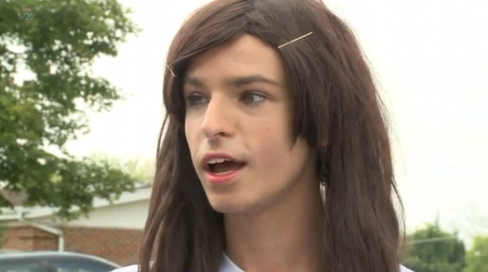 200 high school students walk out of class to voice opinions on transgender student's rights, skip class.