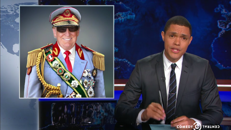 Trevor Noah officially puts his African-guy stamp on 'The Daily Show' with hilarious Trump segment.