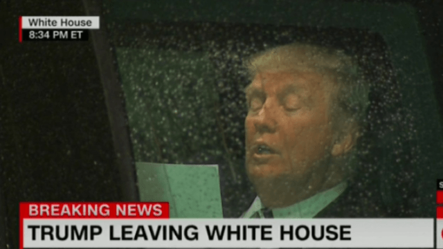 Twitter turned Trump's emotional car ride to Congress into a hilarious meme.