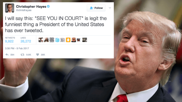 Here are Twitter's funniest responses to Trump's insane 'SEE YOU IN COURT!' tweet.