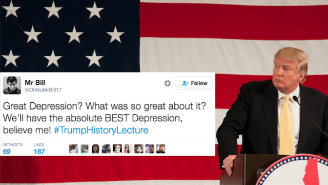 Twitter is reimagining history as told by Trump, and it's funny but terrifying.