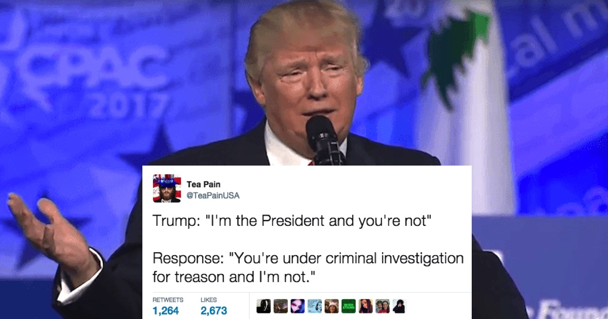 Twitter reacts to Trump defending himself with playground logic.