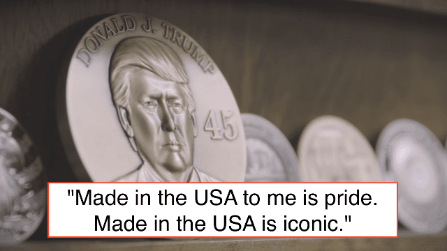 Trump drops Scientology-esque video of people happily making gold coins with his face on them.