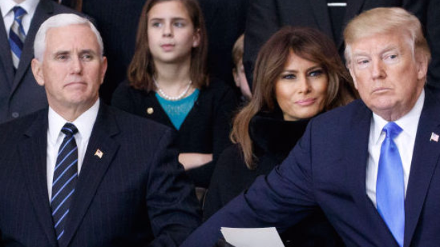 Trump's hand lingered gently on Pence's thigh and the internet can't look away.
