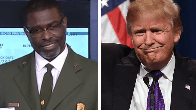 The internet loves this park ranger's epic side-eye after accepting a check from Trump.
