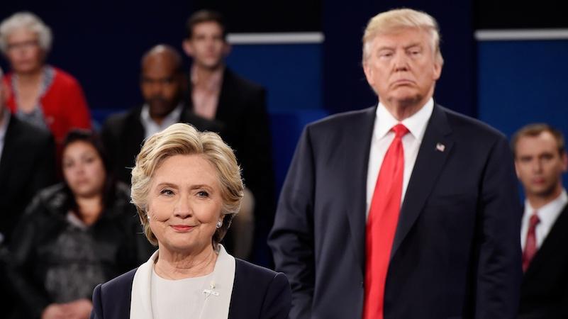 Trump spent the second debate lurking behind Hillary like a stalker.
