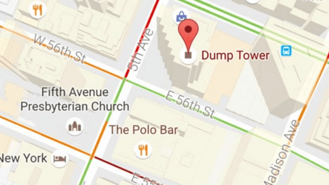 Trump Tower Nyc Map.Some Very Mature Person Changed Trump Tower To Dump Tower On