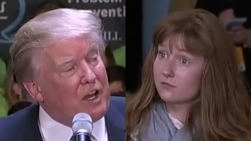 Trump gets NAILED at event by woman who, oh, turned out to be a Jeb Bush intern.