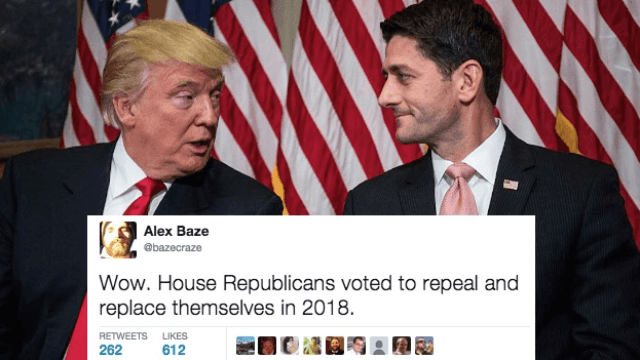 Twitter rage-tweets after the House votes to repeal the Affordable Care Act.