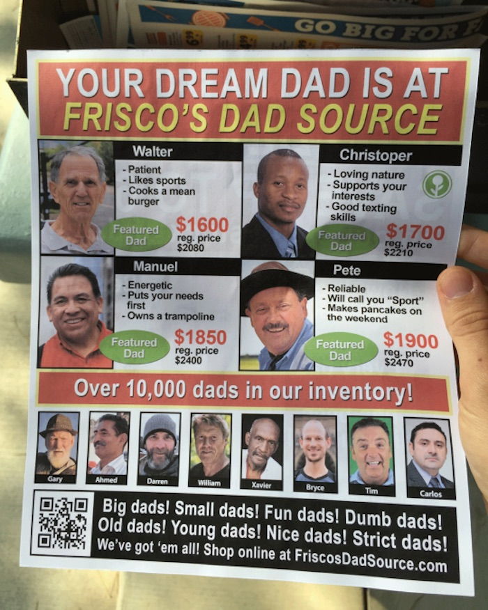 Guy makes fake, hilarious Father's Day flyer with all kinds of dads for sale.