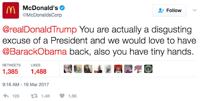 The funniest tweets about McDonald's going rogue and calling Donald Trump 'disgusting.'