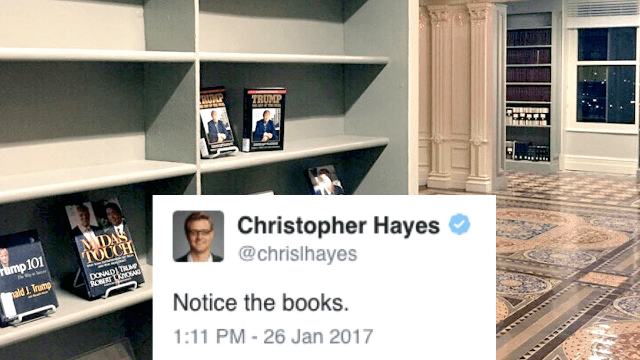 Twitter reacts to leaked image of this tragic bookshelf in Trump\u0027s White House library. & Twitter reacts to leaked image of this tragic bookshelf in Trump\u0027s ...