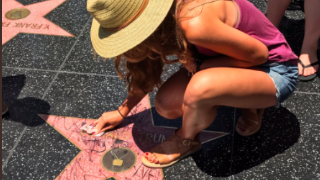 Twitter is absolutely owning the woman who cleaned Donald Trump's star on the Hollywood Walk of Fame.