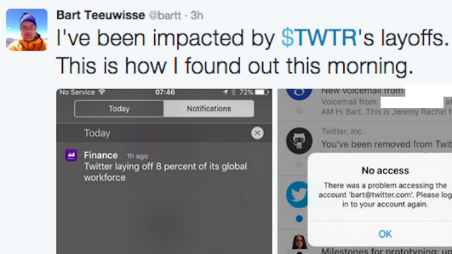 This Twitter employee found out he was laid off today in the most awfully 2015 way.