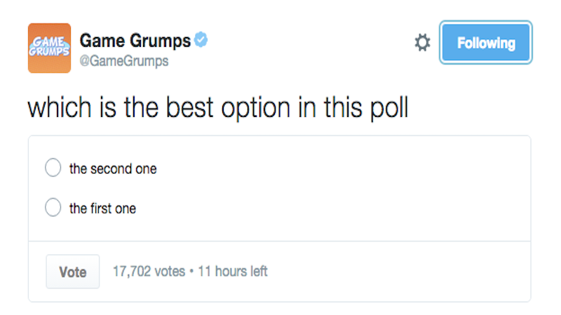 Twitter is letting people make polls now. Here are 15 of the funniest.