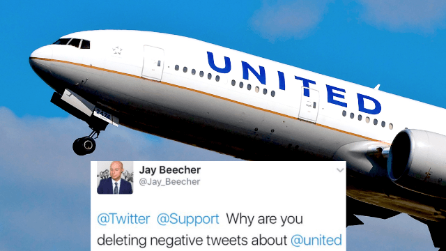 People claim their tweets criticizing United Airlines were 'deleted' by Twitter.
