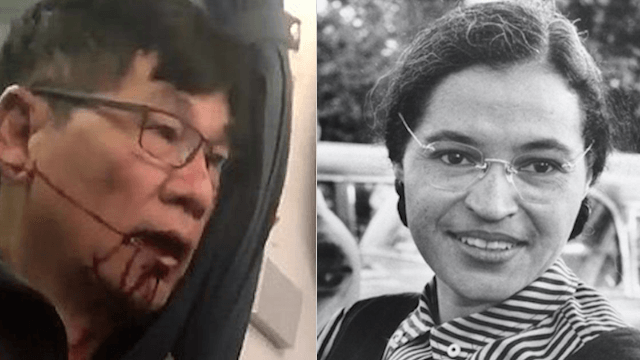 Someone compared the United Airlines passenger to Rosa Parks and Twitter is not here for it.