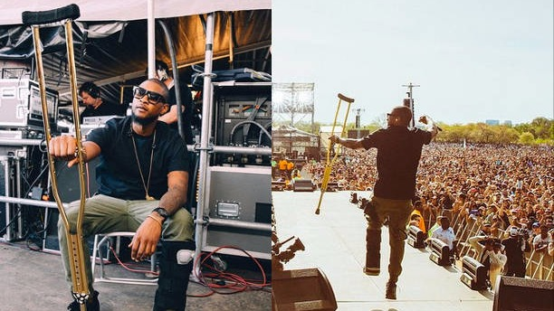 Usher's gold crutches are the greatest thing he's taken under his arm since Bieber.