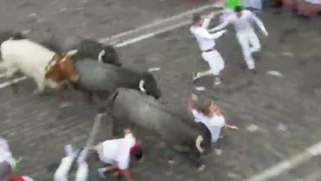 Video captures horrific moment man gets trampled at Pamplona's famous Running of the Bulls.