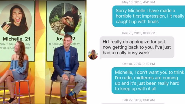 Viral Tinder couple finally meets after texting for three years.