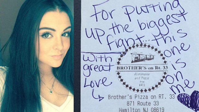 """Young waitress becomes local celebrity after picking up the tab for someone """"putting up the biggest fight."""""""