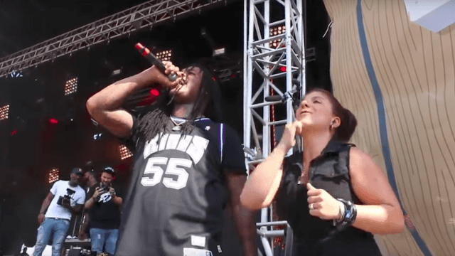 Waka Flocka loved his hype sign language interpreter so much he jumped offstage and danced with her.
