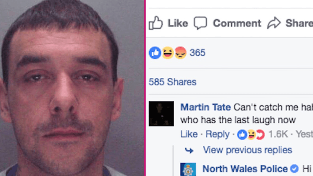 World's cockiest criminal trolls his own 'Wanted' ad on Facebook. Big mistake.