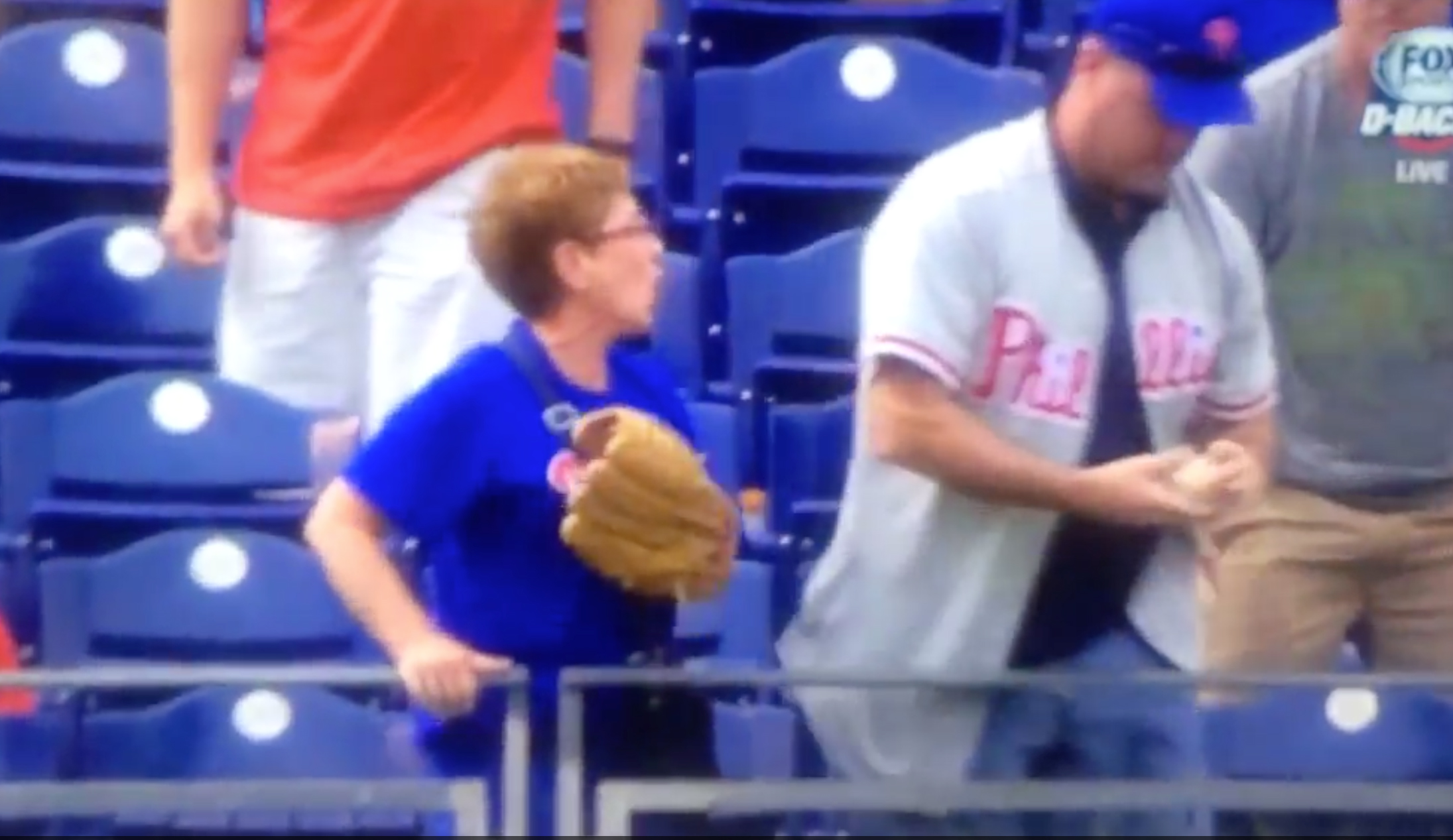 Watch a typical Phillies fan ruin baseball for a nice old lady.