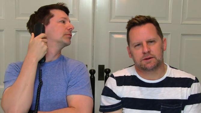 "Watch Sean Hayes and his husband lip sync Iggy Azeala and Jennifer Hudson's ""Trouble."""