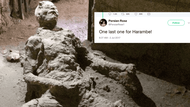 Was this dude jerking off when a volcano erupted and killed him?