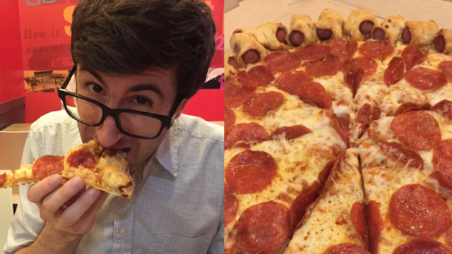 We sent two comedians to eat Pizza Hut's brand new Hot Dog Bites Pizza. This is their story.