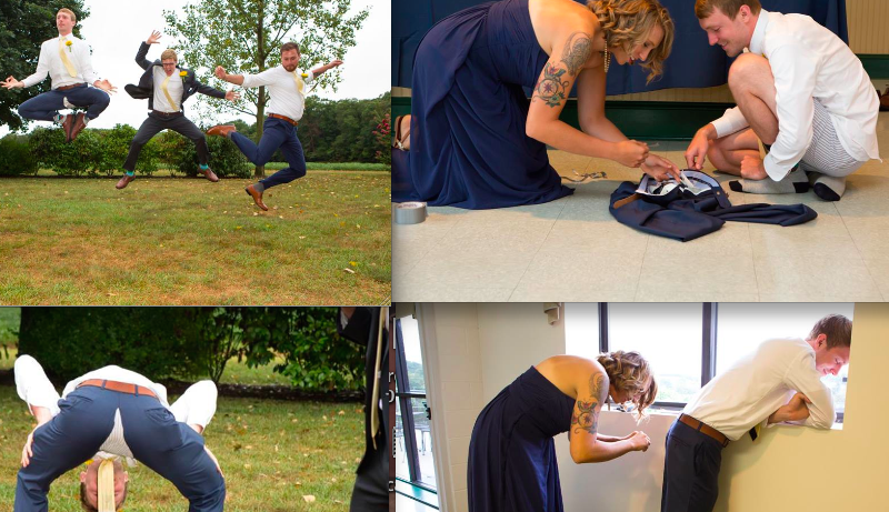 Wedding photographer captures man's pants splitting in real time. His wife captured the aftermath.