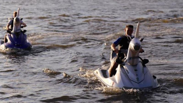 Grooms blow all other wedding entrances out of the water with their magical jet-powered steeds.