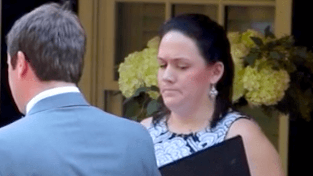 Bride undeterred as minister accidentally interrupts vows in the grossest possible way.