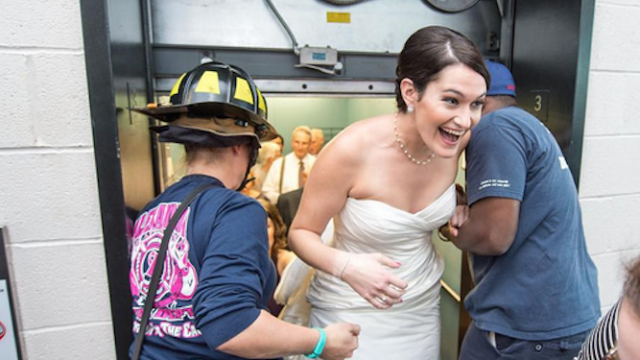 An entire wedding party got stuck in an elevator. On the plus side, photo shoot.