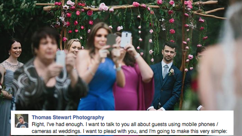Wedding photographer rants on Facebook about guests trying to do his job and ruining everything.