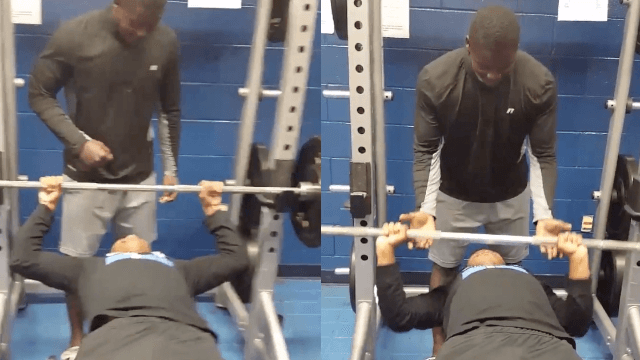 Very confident man loses weightlifting bet in the most embarrassing way possible.