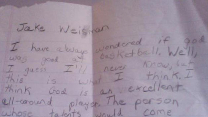 This quirky five-year-old's adorable thoughts on God playing basketball will make you think.