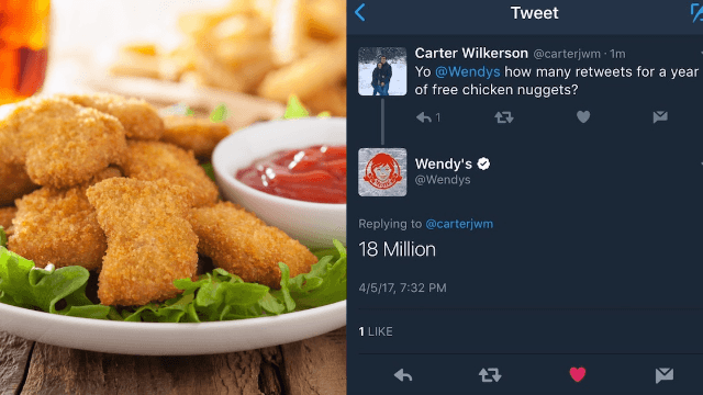 Twitter is coming together to help this guy win a year's supply of Wendy's chicken nuggets.