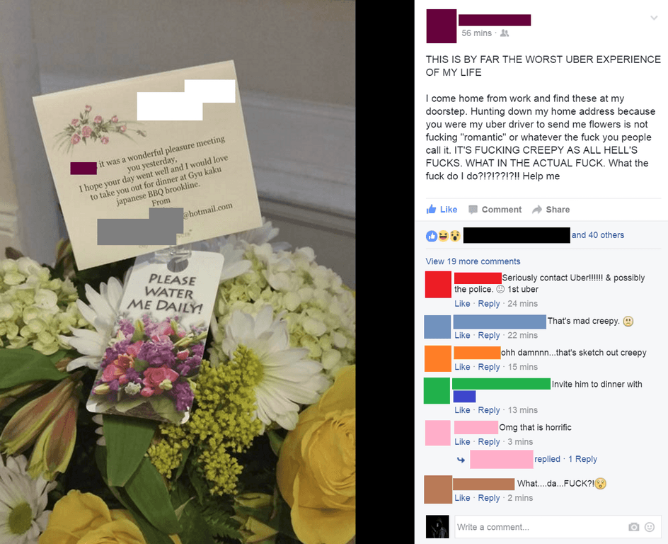 Woman gets 5 stars, a creepy bouquet from Uber driver.